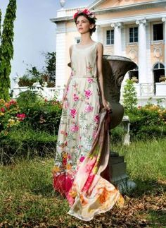 Cream Tabassum Mughal long abaya anarkali suit