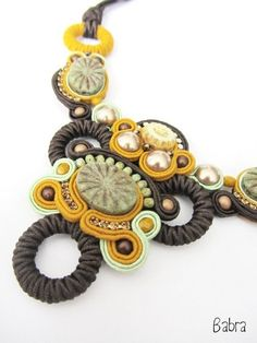 SOUTACHE KIT Soutache Embroidery Soutache Neklace Handmade soutache neklace  Designer soutache necklace Kit with beads, crystals and leather