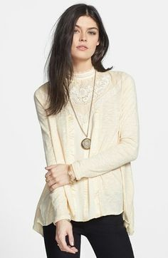 Free People 'Gibson' Mixed Media Top available at #Nordstrom