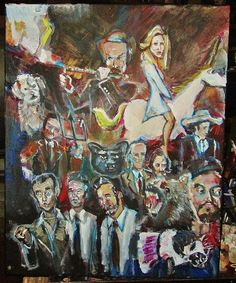 """Anchorman painting #1 by Ryan Lowrie is on a bleached cotton canvas of mixed media.  16"""" x 20"""""""