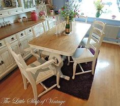 Solid Oak Dining Kitchen Table & 6 Chairs 2 Carvers Painted White Old Charm ASCP