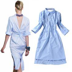 HIGH QUALITY New 2014 Runway Fashion Women's Novelty Back V Open Asymmetrical Designer Shirt Dress //   Цена: $ US $18.40 & Бесплатная доставка //    #fashionmartonline #мода #стиль