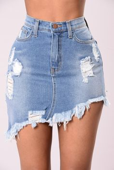 Love this skirt! I've been wanting a jean skirt and this asymmetric distressed style is really cute!