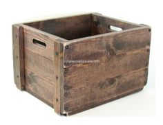 Wooden Crate Wood Box Wooden Tote Carryall Bin by BridgewoodPlace, $105.00