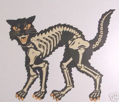 Beistle skeleton cat 1960's