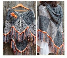 Crochet Poncho Patterns, Knitted Poncho, Crochet Shawl, Knitting Patterns, Crochet Clothes, Crochet Projects, Boho Fashion, Couture, Clothes For Women