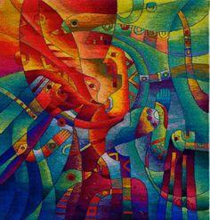 Dialogo Intimo con la Madre - Puvian tapestry by Maximo Laura