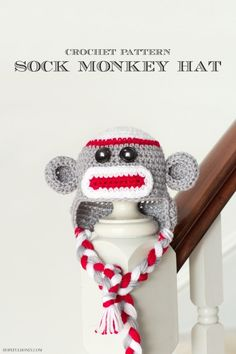 There's no monkeying around with this adorable pattern. This Sock Monkey Crochet Baby Hat Patterns is instantly recognizable and so adorable. In fact, this is one of the cutest baby hat patterns around. Crochet Sock Monkeys, Crochet Baby Socks, Crochet Baby Hat Patterns, Crochet Kids Hats, Baby Patterns, Baby Knitting, Hat Crochet, Crochet Monkey, Animal Patterns