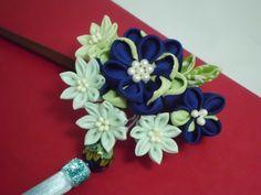 SALE 10% OFF Blue Green flower bouquet tsumami by JagataraArt