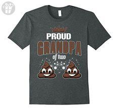 Mens Proud Grandpa Of Two Poop Emoji Happy Birthday Grandpa Shirt XL Dark Heather - Birthday shirts (*Amazon Partner-Link)