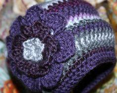 "Boutique Baby Girl crochet cap purple grey flower photo hat jsuey123 9 mo+ 19"""