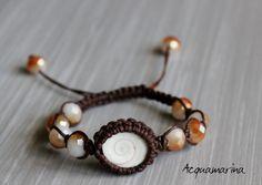 Bracciale in macramè marrone fatto a mano - Handmade - Made in Italy - Stile Shamballa - Pietre dure e occhio di Santa Lucia - Shiva eye di StefaniaShop su Etsy