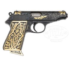Exceptionally engraved and gold inlaid Pre-World War II Walther PP semi-automatic pistol with carved ivory grips. Estimated Value: $12,500
