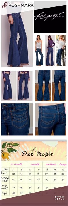 """Free People Stella High Rise Stretchy Jeans.  NWT. Free People Stella High Rise Stretchy Flared Jeans, 50% cotton, 23% rayon, 22% polyester, 2% spandex, machine washable, 25"""" waist, 7"""" front rise, 12"""" back rise, 34"""" inseam, 27"""" leg opening all around, super stretch fabric, chevron-embroidered patch pockets further the hip throwback vibe of these stretch denim that sculpt your figure through the thighs before flaring into a dramatic bell shape, pockets trimmed in orange thread, zip fly button…"""
