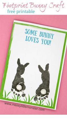 Some bunny loves you! Make a footprint bunny craft with your baby or toddler using our free printable keepsake card. Great for Mother's Day, Father's Day, Valentine's day or Easter. crafts for toddlers Footprint Bunny Craft - FREE printable keepsake card Daycare Crafts, Preschool Crafts, Kids Crafts, Craft Projects, Craft Ideas, Crafts With Baby, Infant Art Projects, Crafts For Babies, Baby Feet Crafts