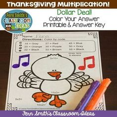 #Thanksgiving Fun! Dollar Deal - Thanksgiving Color Your Answers Multiplication Printable & Answer Key -- This math resource includes: ONE Thanksgiving Multiplication printable and ONE answer key for Multiplication with a FUN Thanksgiving Theme! #FernSmithsClassroomIdeas #TPT $paid