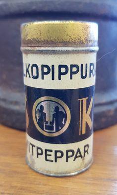 Vanha peltinen maustepurkki, SOK, valkopippuri Coffee Cans, Retro Vintage