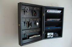Hidden Key Box & Mail Organizer Handcrafted by WindyWoodsWoodcraft … Key Storage, Locker Storage, Key Cabinet, Unique Key, Hidden Key, Key Box, Garment Racks, Letter Holder, Dark Walnut Stain