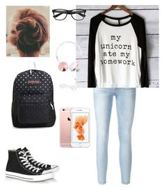 """casual school day"" by jmehta02 ❤ liked on Polyvore featuring Frame Denim, Converse and JanSport"