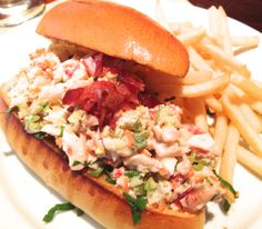 The Beer Bar, Met Life Building - an un-traditional, but fresh tasting — lobster roll served with fries.  I say not traditional as the roll was a thick hoagie, not a toasted hotdog bun, and instead of just mayo, the lobster was mixed with spicy mayo, diced celery and shredded bibb lettuce all topped with crumbled apple smoked bacon ($15.50).