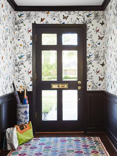 Butterfly wallpaper greets you as you enter this fun Houston home. #hgtvmagazine http://www.hgtv.com/design/decorating/design-101/decorating-therapy-pictures?soc=pinterest
