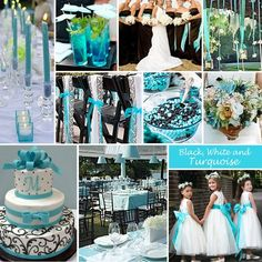 Turquoise, Black and White Wedding Colors – Turquoise with Black and White is a vibrant choice. The combination is so versatile and works in any season. I want gray or brown instead o black though. And add purple