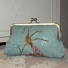 Embroidered Peacock Silk Clutch/Purse/Bag ...Limited Edition..Silk kimono fabric..Seafoam. $85.00, via Etsy.