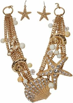 Amazon.com: Layered Gold Tone Starfish Sea Shell White Beads Crystals Fashion Statement Bib Necklace & Earring Set: Jewelry