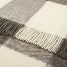 Bronte Grey Block Check Pure Wool Throw