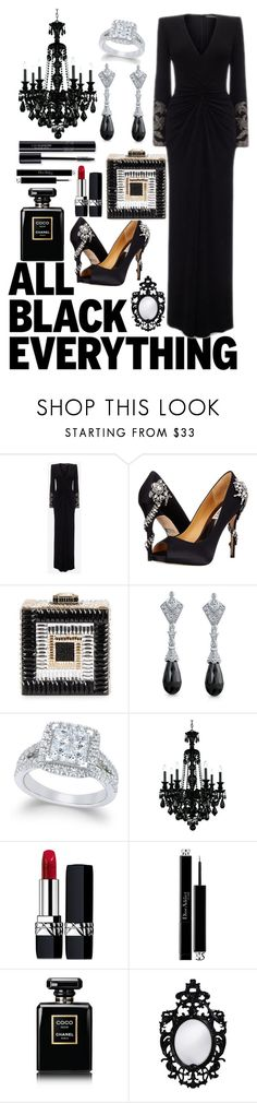 """""""Set the stage for black"""" by pulseofthematter ❤ liked on Polyvore featuring Alexander McQueen, Badgley Mischka, Judith Leiber, Bling Jewelry, Schonbek, Christian Dior, Chanel and Howard Elliott"""