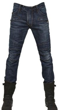 Balmain Mens Blue Quilted Biker Jeans. The future of denim. These are a killer jean which I think would do well....