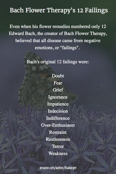 "Even when his flower remedies numbered only 12 Edward Bach, the creator of Bach Flower Therapy, believed that all disease came from negative emotions, or ""failings"".   Bach's original 12 failings were:  Doubt Fear Grief Ignorance Impatience Indecision Indifference Over-Enthusiasm Restraint Restlessness Terror Weakness"