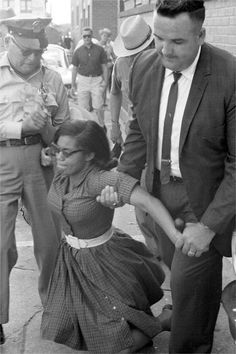 In this image civil rights activist Patricia Due is being arrested by Tallahassee Police along with 260 FAMU students for protesting in front of the segregated Florida Theater, May 30, 1963.  Photo credit: Florida State Archives — in Tallahassee, Florida.
