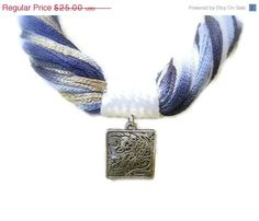 SALE 40% OFF Blue Fiber Statement Necklace Summer by JustColor
