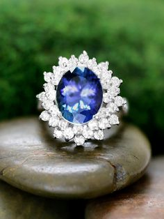 ONE-OF-A-KIND: Tanzanite and Double Halo Diamond Solid 14K White Gold (14KW) Color Stone Estate Cocktail Ring *Fine Jewelry* (Free Shipping)