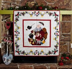 Ole Time Santa Wall Hanging Quilt Kit - White