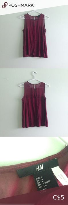 Sleeveless Maroon Shirt - vertical button up slit at the back - polyester - shoulder to upper breast is mesh material H&M Tops Tank Tops H&m Tops, Tank Tops, Wardrobe Sale, Good Brands, Maroon Shirts, Mesh Material, Button Up, Breast, Shoulder