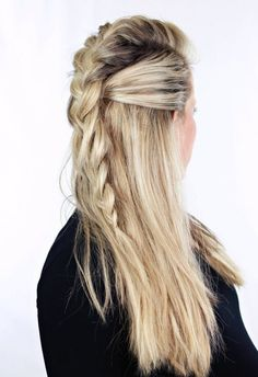 Obsessed with this half-up style. # summer Braids faux hawk 13 Seriously Pretty Ways to Rock a Faux Hawk Half Braided Hairstyles, Faux Hawk Hairstyles, Five Minute Hairstyles, Rock Hairstyles, Trendy Hairstyles, Viking Hairstyles, Concert Hairstyles, Summer Hairstyles, French Braid Mohawk