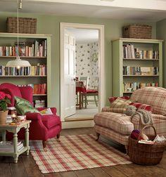 Green and Red Living Room Idea Best Of soft Green and Red Farmhouse Living Room In 2019 Country Cottage Living Room, Living Room Red, Home And Living, Living Room Decor, Cozy Cottage, Cottage Style, Home Interior, Interior Design, Deco Retro