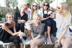 (Clockwise from left) Lauren Santo Domingo (left), Harley Viera-Newton, Alexa Chung, Derek Blasberg, Poppy Delevingne, and Sienna Miller