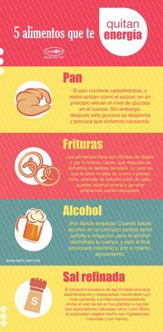 Infografía: 5 #alimentos que te quitan energía.  http://lemi.com.mx