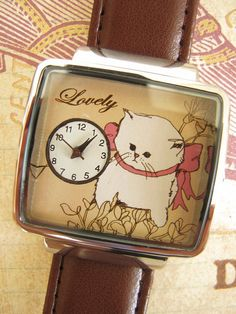 Lovely Kitty hand painted watch with Brown leather by NaniWatch, $35.00