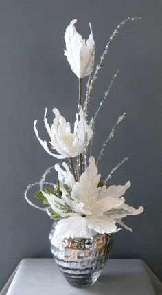 white contemporary christmas flower arrangements - Google Search