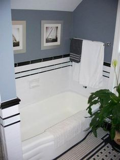black and white tile bathroom - Google Search (blue wall paint color with black and white tile bath)
