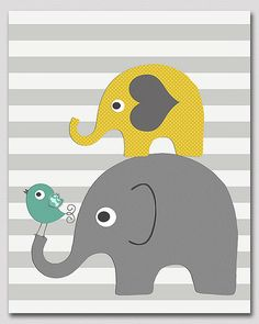 Yellow and grey and teal  elephant nursery art by SednaPrints, $13.50