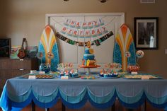 """Liam's 3rd Birthday """"Surfs Up"""" theme party turned out just as I imagined! Thanks Pinterest for all the ideas!"""