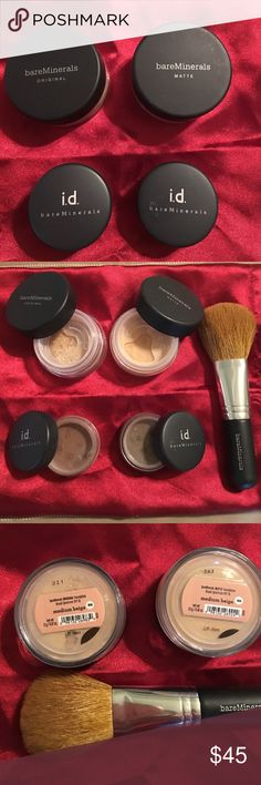 Bare Minerals Bundle Bare Minerals Starter bundle. Original and matte foundation in medium beige. Bare Minerals All over Face color in Warmth and Multi Tasking Eye brightened in Well Rested. Also comes with Bare Minerals Flawless Face brush, Bare Minerals Concealer brush, Bare Minerals Prime Time Foundation Primer Original and Black carrying case (smudges on case are just from storage). Bought it and ended up not using it. Will also include some small gifts ☺️ bareMinerals Makeup