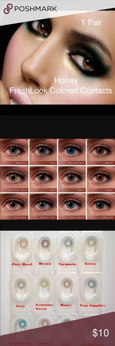 "1 Pair FreshLook Honey Colored Contacts 1 Pair Reusable  2 pair =$18  3Pair = $27  ""FreshLook Colorblends contact lenses offer a wide palette of beautiful colors to enhance your eye color in a natural way.   Non Prescription. Cosmetic Only.   Expiration: 2020-03 Diameter: 14.5 Price per box: 1 box = 1 pair Shipping: Same day or Next day  Available colors:  Blue, Brilliant Blue, turquoise, true Sapphire, green, gemstone Green, pure Hazel,honey, Gray, Sterling Gray Nike, Victoria Secret Makeup"