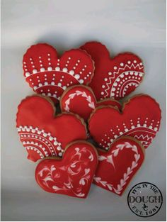 Decorated Valentine Cookies | Yummy Sugar Decorated / red heart lace valentines day cookies facebook ...