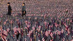 33.000 Flaggen erinnerten in einem Park in Boston an die Soldaten aus Massachusetts, die im Bürgerkrieg ums Leben gekommen sind.  Credit: dapd